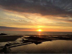 Sunset over the sea pool in Bude - one of our favourite Bude sunset photographs